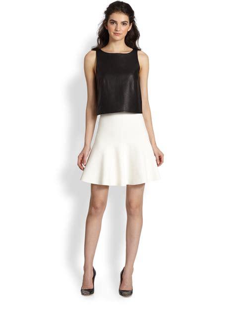 Paneled Denim Flare Mini Skirt bcbgmaxazria flared stretch knit skirt in white lyst
