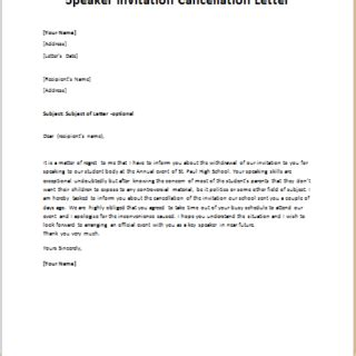 email format guesser cancellation letter for guest speaker invitation