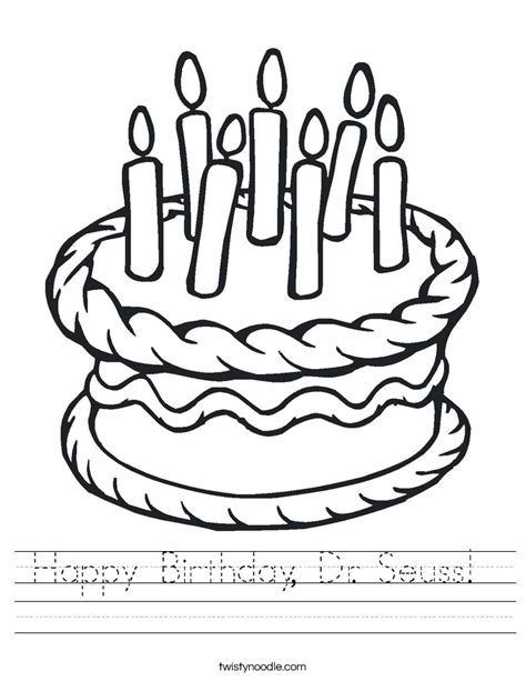 happy birthday dr seuss coloring pages happy birthday dr seuss worksheet twisty noodle