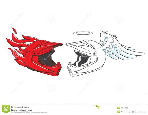 devil z crash devil and angel helmet motocross cartoon vector