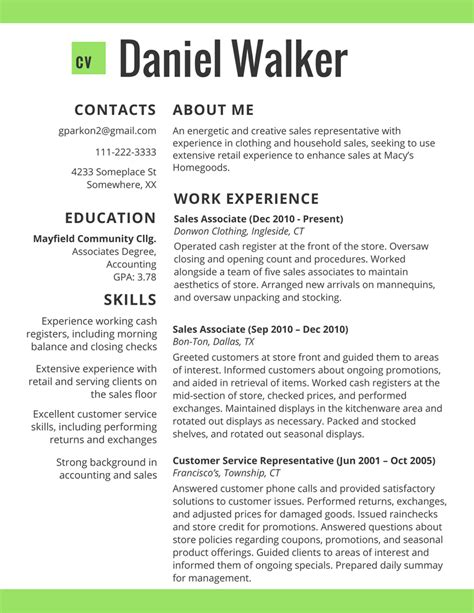 work experience resume sales associate commonpence co