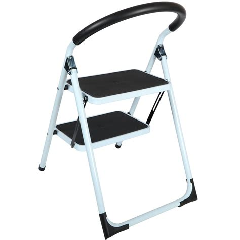 2 Step Stool Ladder by Step Ladders 2 Tread Strong Steel Non Slip Folding Step