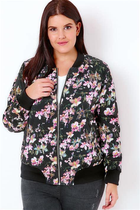 Flower Jaket P black multi floral print bomber jacket plus size 16 to 36