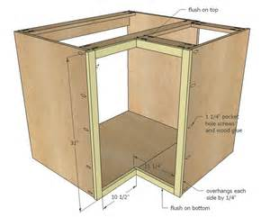 constructing kitchen cabinets ana white build a 36 quot corner base easy reach kitchen