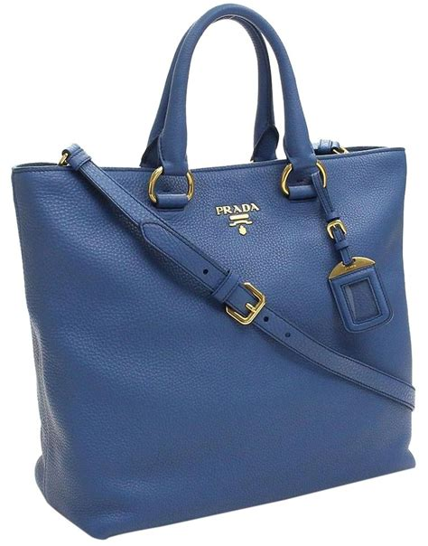 Prada Fancy Tote 022 Prada Vit Vitello Daino Pebbled Handbag Blue Leather Tote
