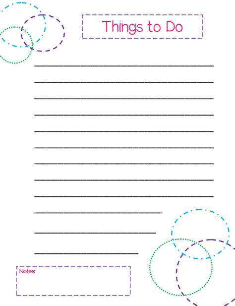 cool to do list template things to do list a colorful circles themed template