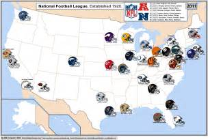 Nfl cities map with conferences displayed nfl
