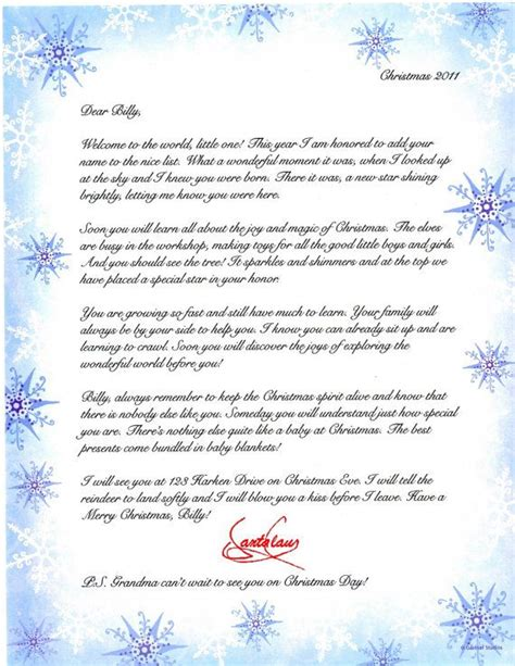 babys  christmas personalized letter  santa