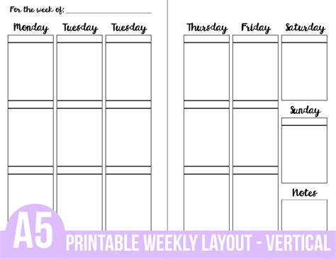 printable planner layout printable a5 planner inserts weekly vertical layout 3 section