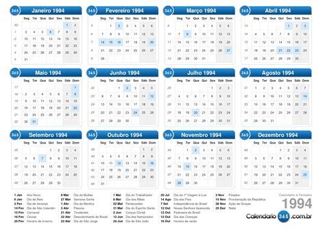 Calendario A O 1994 Calend 225 1994