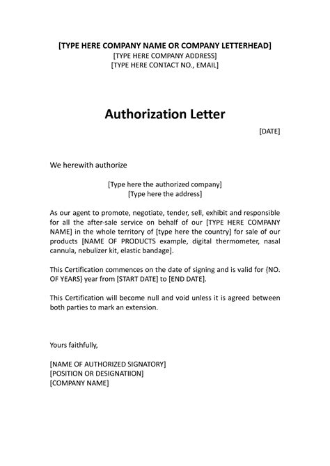 exle of authorization letter for representative authorization letter sle for company representative