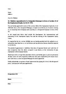 Appointment Letter Format For Managing Director Appointment Letter Of Designated Ee Manager Document Labour Law South Africa Download