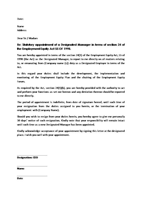 Labour Letter Of Appointment Appointment Letter Of Designated Ee Manager Document Labour South Africa