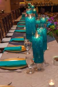 teal and purple wedding reception decor candle design