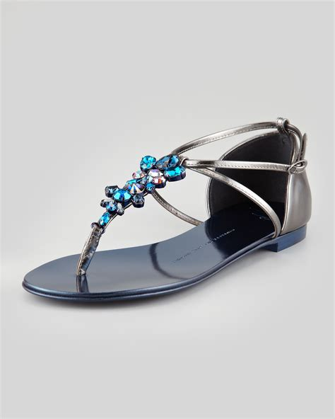 jeweled flats shoes giuseppe zanotti jeweled flat sandal blue in silver
