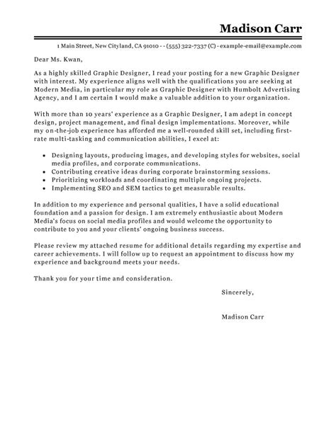 cover letter for graphic designer position best graphic designer cover letter exles livecareer