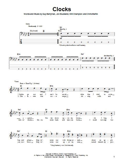 coldplay clocks chords clocks by coldplay bass tab guitar instructor