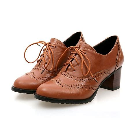 womens oxfords shoes brogue shoe womens lace up mid heel wingtip