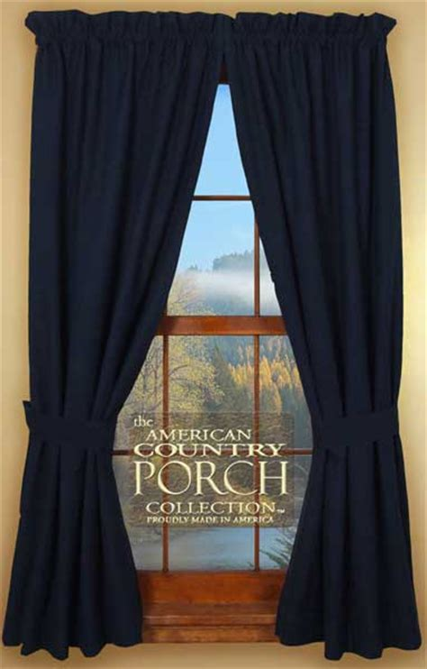 Solid Navy Blue Tieback Curtain Panels