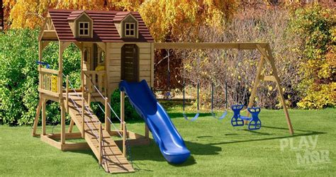 Amish Swing Sets by Wooden Playsets Built In Ohio S Amish Country Playmor