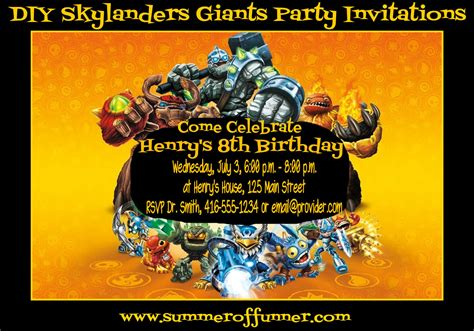 Diy Skylanders Giants Birthday Party Invitations Summer Of Funner Skylanders Birthday Invitations Template