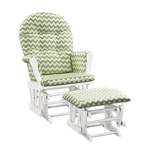 white glider and ottoman for nursery windsor glider and ottoman white w green chevron cushion