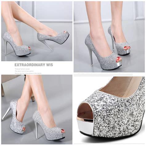 Sepatu Wanita Heel 12cm jual shh4002 silver sepatu heels wanita 12cm grosirimpor