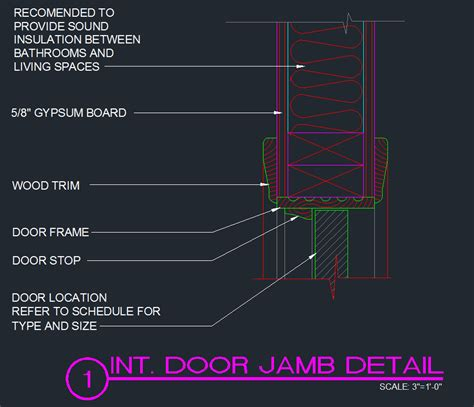 door jamb detail interior typical cad files dwg files plans and details