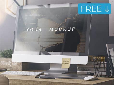 Realistic Imac Mockup Template Free Psd Download Download Psd Adobe Mockup Templates