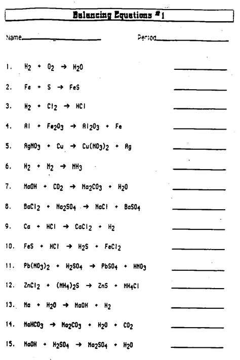Balancing Chemical Equations Worksheet Middle School by Balancing Equations Worksheet 187 Health And Fitness