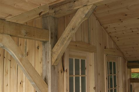 Garage And Workshop Designs pool house with white oak post and beam and white pine