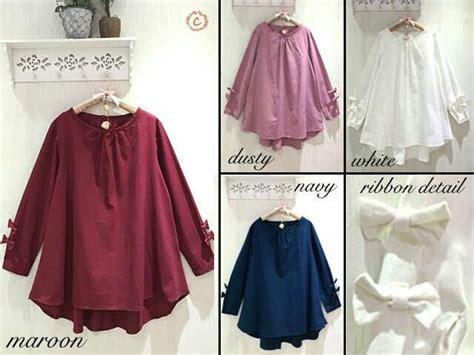 Baju Atasan Kemeja Tunik Wanita Cewek Lengan Panjang Riasha Blouse model baru baju muslim modis jual baju atasan muslim bahan