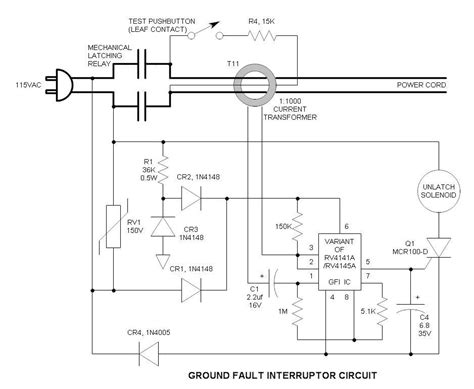 ground fault circuit breaker schematic wiring diagrams