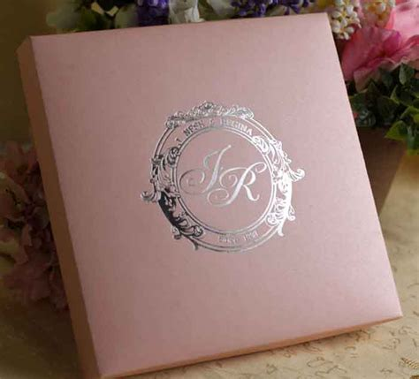 color silk box wedding invitation with flower rhines