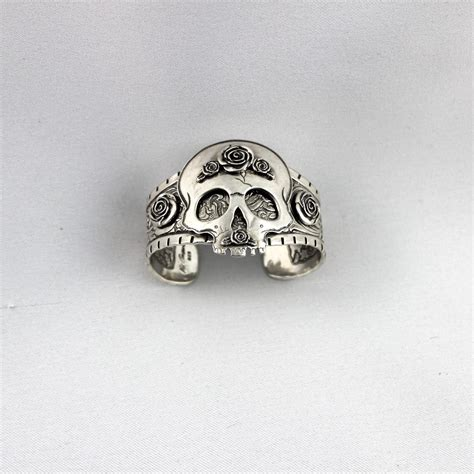 Hand Carved Silver Sugar Skull Cuff Bracelet ? Two Red Dogs