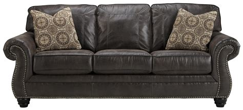 Faux Leather Queen Sofa Sleeper With Rolled Arms And Nailhead Sleeper Sofa