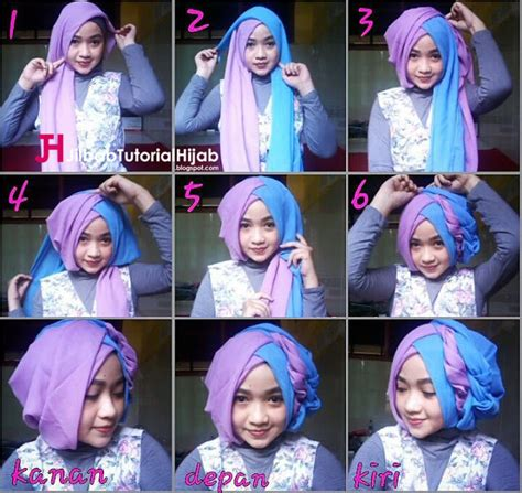 tutorial hijab segitiga untuk lebaran tutorial hijab segi empat 2 warna untuk wisuda dan lebaran
