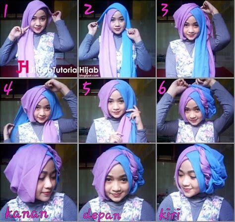 tutorial hijab anak muda untuk lebaran tutorial hijab segi empat 2 warna untuk wisuda dan lebaran