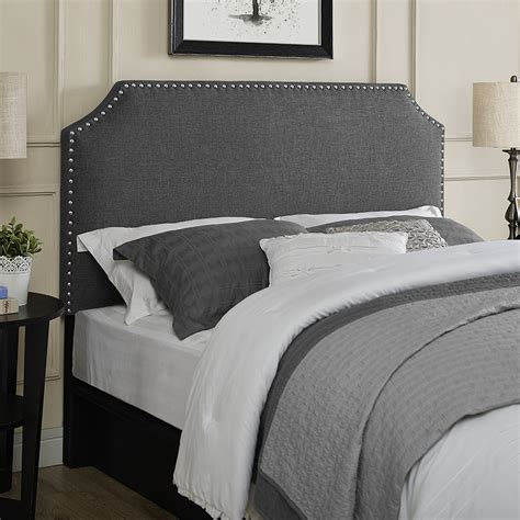 linen nailhead headboard dorel linen headboard with nailhead trim