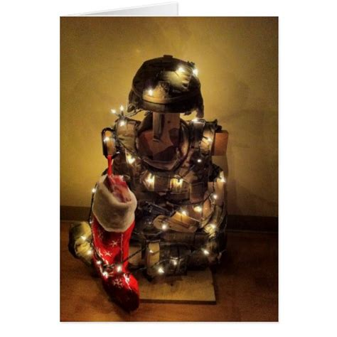 deployed soldier s christmas tree card zazzle