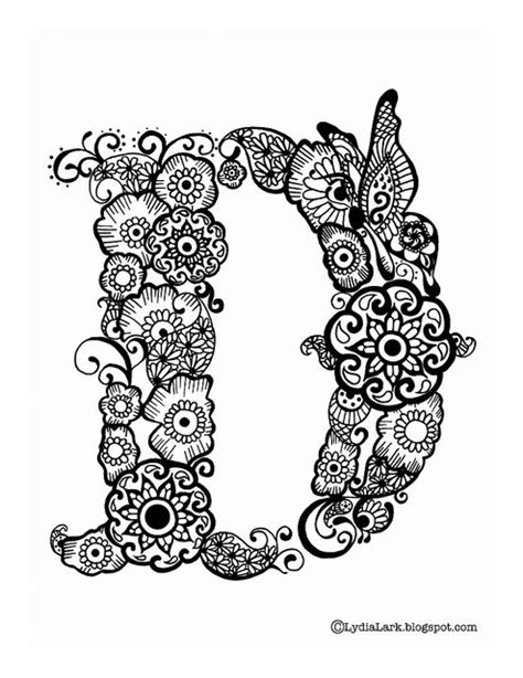 henna design letters printable henna letter d from lydia lark inky maybe
