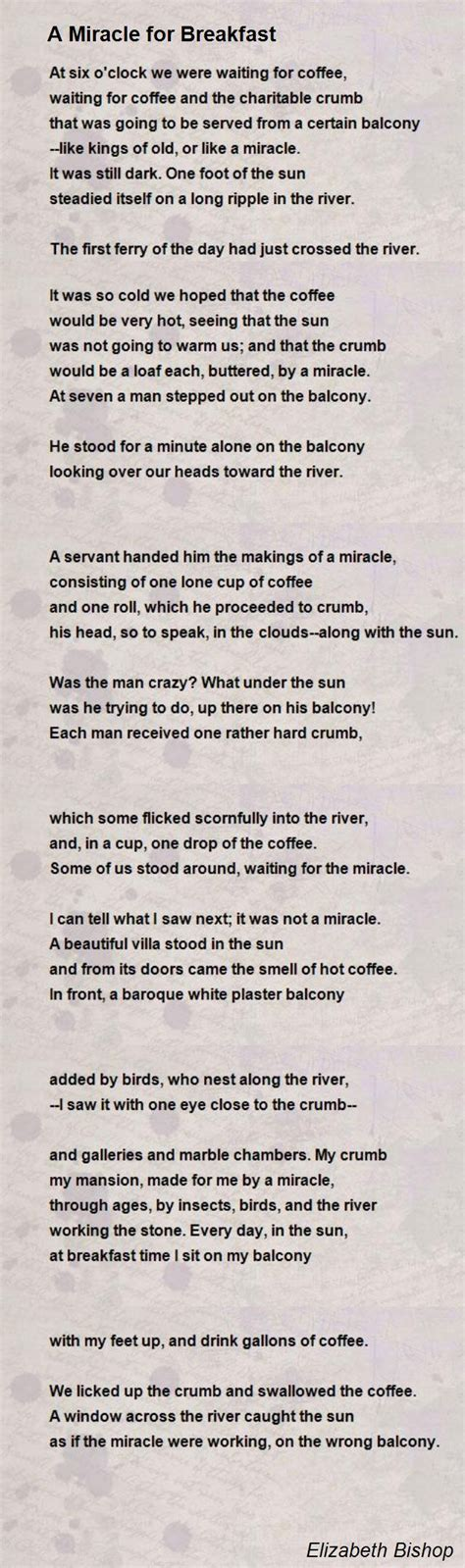 elizabeth bishop a miracle for breakfast books a miracle for breakfast poem by elizabeth bishop poem
