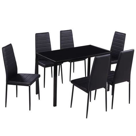 Dining Set 6 Black Chairs 1 Table Contemporary Design Dining Sets 6 Chairs
