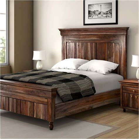 Bedroom Headboards And Footboards Modern Rustic Solid Wood 3pc King Size Bed Frame