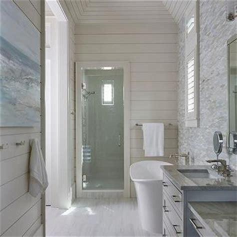 Shiplap Ceiling Bathroom Shiplap Vaulted Bathroom Ceiling With Rustic Wood Beams