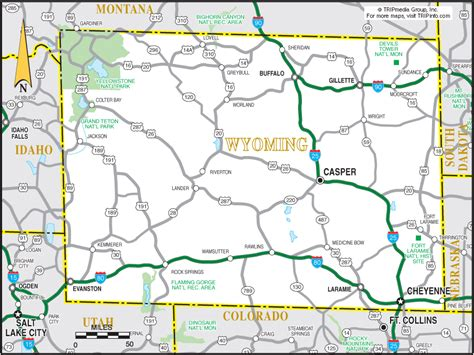 wyoming road map wyoming travel planning