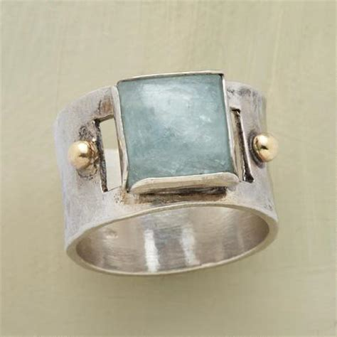 aquamarine cabochon hammered silver ring robert