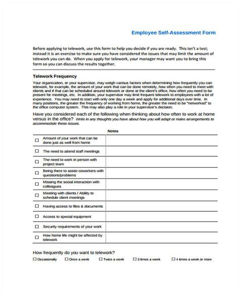 self assessment templates employees employee self assessments employee self evaluation