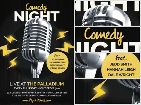 comedy poster template open mic comedy flyer template flyerheroes
