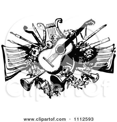 Splatter Lines E Money Card clipart vintage black and white guitar lyre horns and